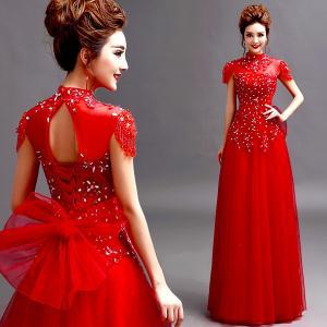 China Red Cap Sleeves Beading High Neck Gorgeous Evening Dress TSJY124 wholesale