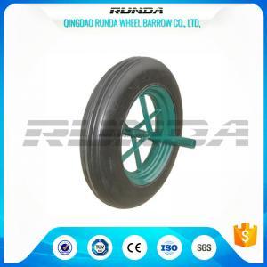China Line Pattern Solid Rubber Wheelbarrow Wheels14 Inch Hollow Axle Powder Coated Rim wholesale