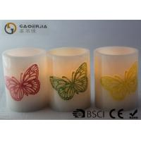 Decoration Real Wax Electronic Candles with butterfly pattern , Carved Candles