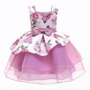 China White Formal Dress Girls Kinder Kleider Rose Print Vestidos De Fiesta Sukienki Dla Dzieci Robe Enfant Fille Princess Dre wholesale