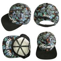 China Dark Green Leaf 5 Panel Camper Hat With Logo Printed Korean Style wholesale