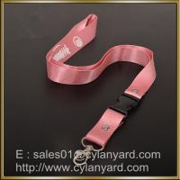 China Pink Nylon lanyard for ID badge holder, nylon neck ribbon with detachable buckle on sale