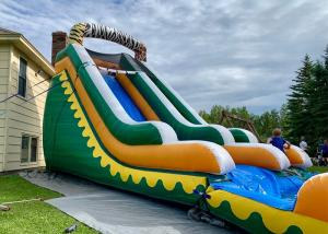 China Commercial High Quality Giant Adults N Kids Yellow Inflatable Jungle Water Slides With Pool wholesale