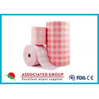 China Pink Checked Pattern Spunlace Nonwoven Rolls Soft & Lint Free on sale
