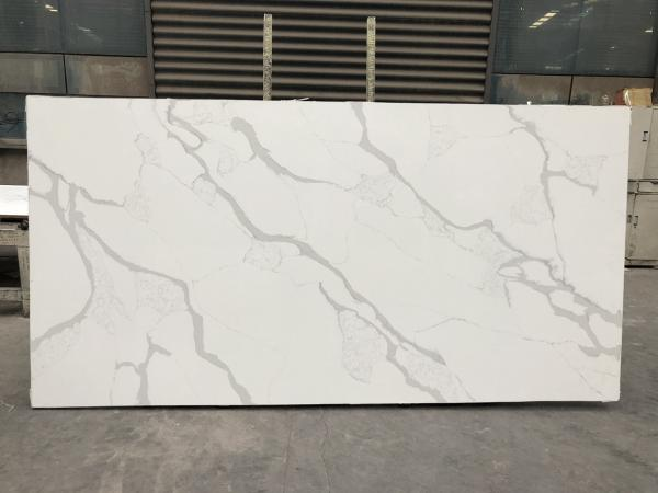Quality Solid stone kitchen worktops Polished White Slab 2cm Thickness Quartz Slab for sale