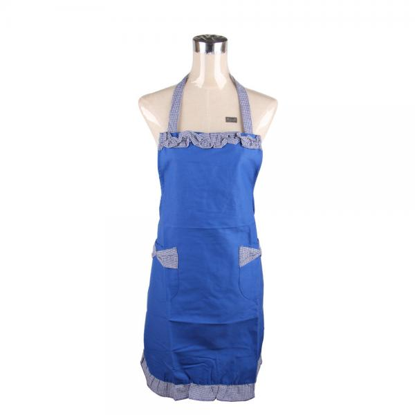 Quality Blue Retro Ladies Cook Aprons With Bowknot Pocket Stringy Selvedge for sale