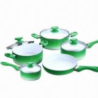 China 10-piece Non-stick Cookware Casserole Set with Frying/Sauce Pan and Stock/Sauce Pot, Ceramic-coated  wholesale