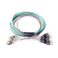 China Pre Terminated OM3 Break Out FC To ST Ribbon 6 Fiber Optic Patch Cord Auqa Jacket wholesale