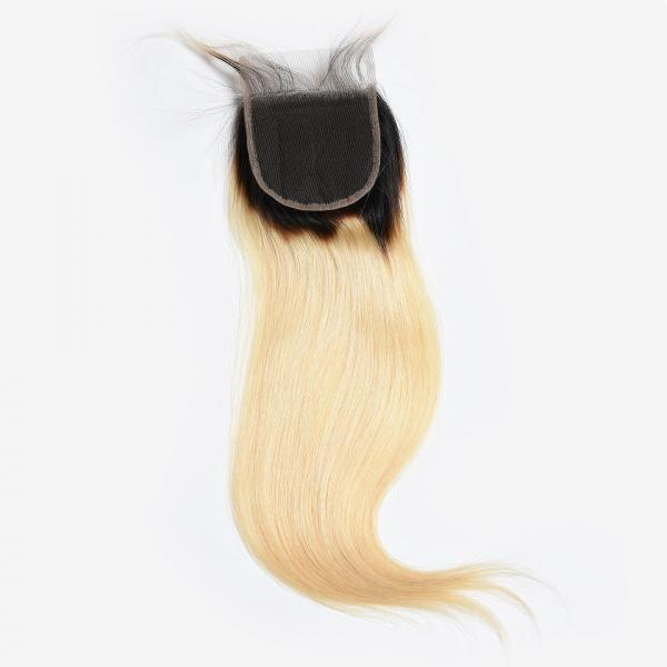 Quality 4x4 Brazilian Hair Lace Closure Straight 1b/613 Color 9a Grade 100% Pure Human Hair for sale