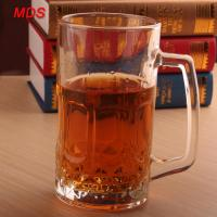 China Factory direct large glass engraved beer mug cheap with handle wholesale