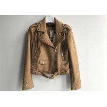 China Dark Brown Suede Belted Womens Jacket Ladies PU Biker Jackets Macrame Decorated wholesale