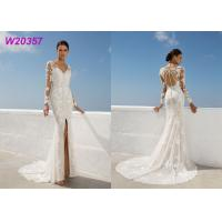 China Beach Lace A Line Wedding Dress Appliques Long Sleeves Slit Side Lvory wholesale