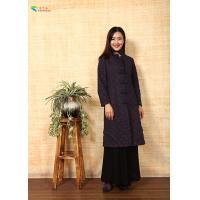 China Navy Blue Ladies Long Black Chinese Jacket Double Layer With Stand Collar on sale
