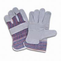 China 10.5-inch Cow Split Leather Safety Gloves with Strip Cotton on Back in Natural Color on sale