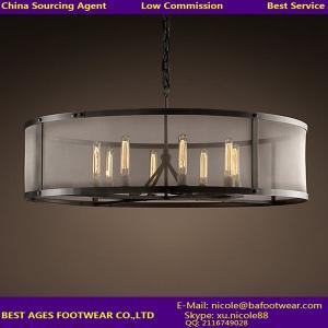China Large vintage commercial chandelier light with super metal big shade on sale