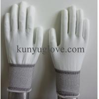 China White resistant polyster PU Coated Working safety Gloves,Labor Gloves for Chemical Work on sale