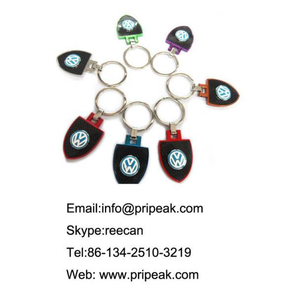 Quality Anti Dirt Car Logo Custom Metal Keychains Pvc / Metal / Leather Material Founded for sale