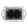 China Elegantly Velvet Mirrored Vanity Tray With Scalloped Edges Acanthus Design wholesale