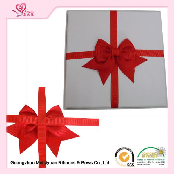 Quality Double Face gift wrapping ribbon bows , Red Grosgrain Ribbon Bow various size for sale