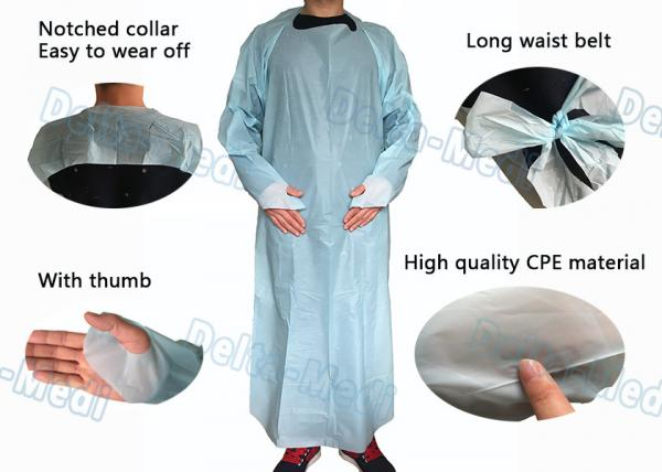 Quality Protective Medical Plastic Products Waterproof CPE Gown With Sleeves for sale