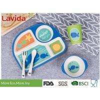 China Eco Bamboo Childrens Dinner Set 4 Sections Plate Glass Fork / Spoon Shatter Proof on sale