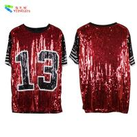 China Red Black Plus Size Party Womens Sequin Clothing Round Neck Elbow Sleeve wholesale