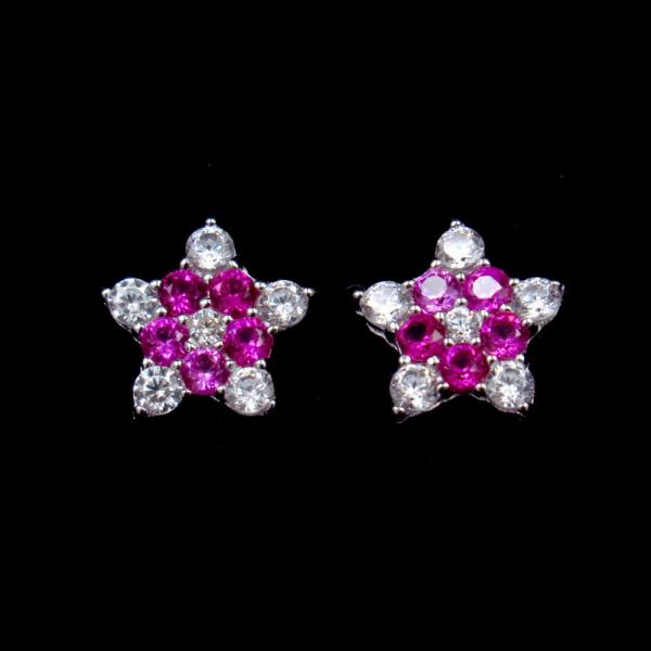 Quality Star Shape Silver Cubic Zirconia Earrings Pure 925 Silver Custom Color for sale