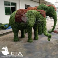 China Weather Resistant Garden Artificial Elephant Sculpture Fake Boxwood Animal Topiary Statue wholesale