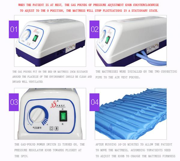 Quality Strip Style Aero Anti Decubitus Mattress , Air Mattress To Prevent Bed Sores Blue Color for sale