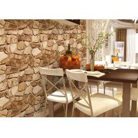 China 3D Effect Stone Pattern Washable Vinyl Wallpaper With Foam Process Natural Style wholesale