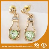 China Fashion Gold Jewelry Hanging Metal Earrings Stud Wedding Shining Crystal Earrings wholesale