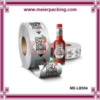 China PET printing Chilli food packing bottle self adhesive sticker in roll packing wholesale