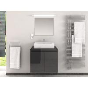 China Classic Black Waterproof Single Bathroom Vanity With White Big Sink on sale