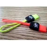 China Fluorescent Color Rubber Zipper Puller With Embossment Logo For Garment , Bags , Luggages wholesale