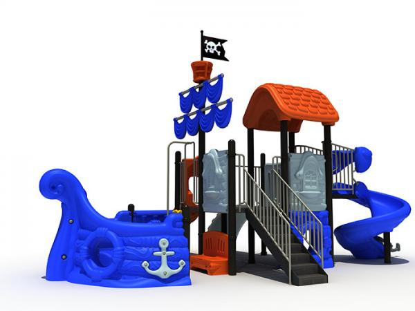 Quality Pirate Ship Themed Daycare Outdoor Playground Equipment Sea Sailing Type With Spiral Slide for sale