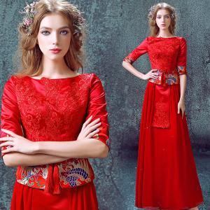 China Chinese Traditional Style Red Elegant Evening Dresses TSJY037 wholesale