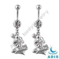 Stainless Steel Dangle Belly Ring Banana Piercing Jewelry With Stone Setting