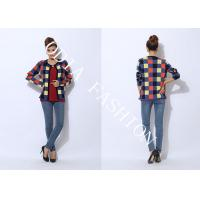 China Cardigan Ladies Crew Neck Sweaters Printed Grid Pattern Show Pretty Nifty on sale