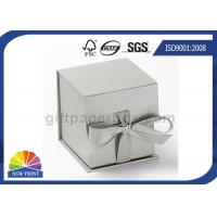 China Logo Printed Jewelry Gift Box with Ribbon Closure , Rigid Cardboard Paper Gift Box wholesale