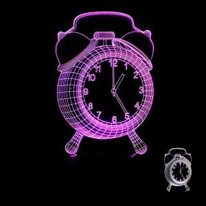 China Creative home furnishings Clock colorful 3D night lights table lamp Alarm clock 3D LED illusion lamp wholesale