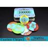 Customizable Casino Poker Chips of Crown Bronzing Rectangular / Round Shape for sale