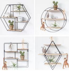 China Floating Wood Wall Shelves Mount Decoration Hexagon Floating Shelf Display Rack Diamond Wall Shelf wholesale