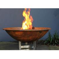 China Rusty Finish Corten Steel Fire Bowl , Round Steel Fire Pit Corrosion Stability wholesale