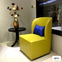 China Yellow Linen Fabric Wooden Club Chair Fantastic Style Comfortable wholesale