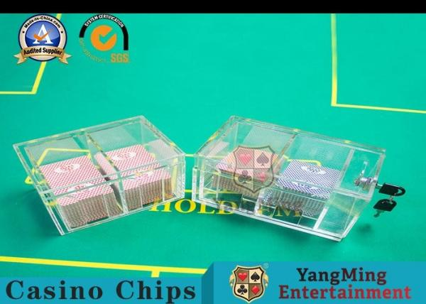 Quality Playing Cards Discard Holder With Lock , Casino 8 Decks Acrylic Clear Security Box for sale