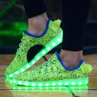 China Hot Sale New Design Flyknit Led Shoes with 7 led color wholesale
