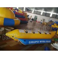 China Blue And Yellow Inflatable Fly Fishing Boats / Inflatable Banana Boat 4 Seats wholesale