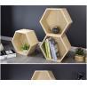 China Diy Solid Wood Display Rack , Hexagon Floating Storage Shelves Free Combination wholesale
