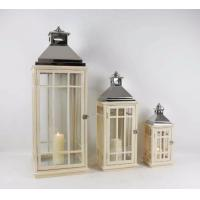 China Metal Brown LED Lantern with Candle decorative wooded candle metal lantern Lantern Candle Tea Light Holder wholesale