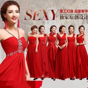 China Red Chiffon One Shoulder Floor Length Gorgeous Evening Dress TSJY123 wholesale